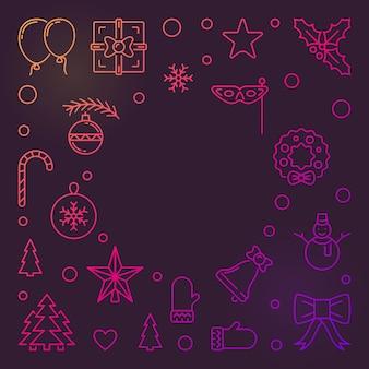 Feliz ano novo colorido contorno de fundo vector