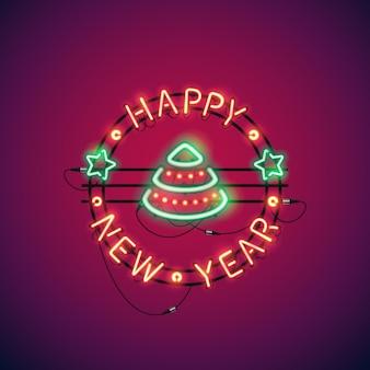 Feliz ano novo, colorido, sinal néon