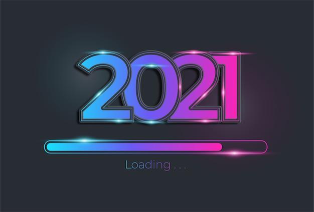 Feliz ano novo com barra de carregamento em cor neon