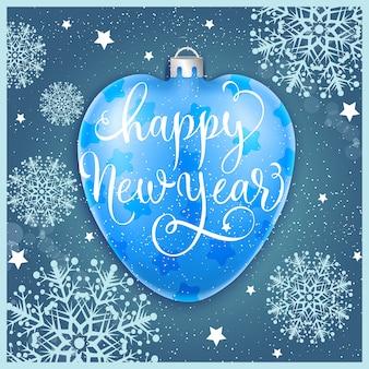 Feliz ano novo com bauble e flocos de neve