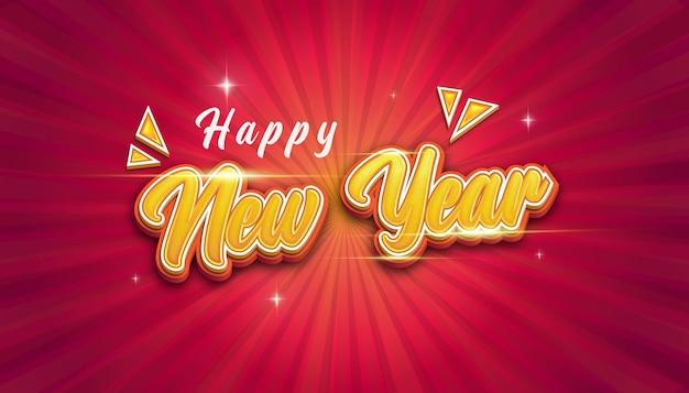 Feliz ano novo com efeito de texto de estilo
