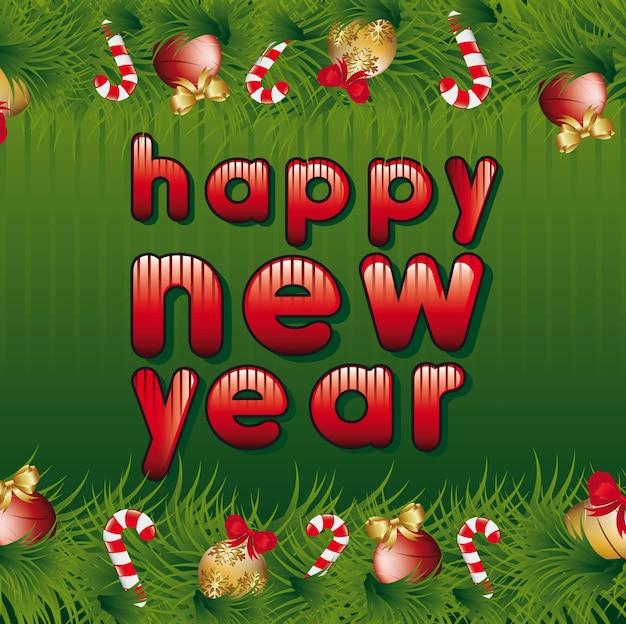 Feliz ano novo com festão sobre vetor de fundo verde