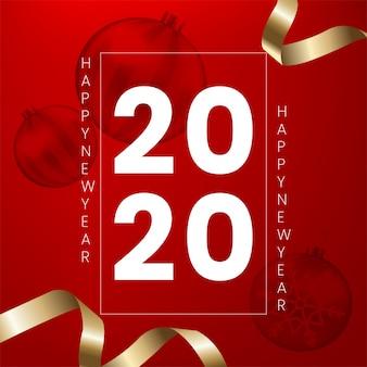 Feliz ano novo com fita de ouro