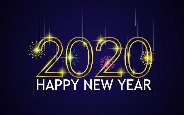 Feliz ano novo com fogos de artifício e ouro 2020