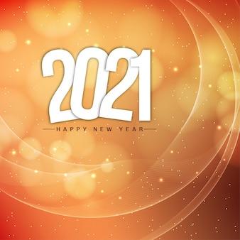 Feliz ano novo com fundo ondulado de 2021 brilhos