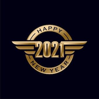 Feliz ano novo com ilustração elegante de figuras douradas em 3d
