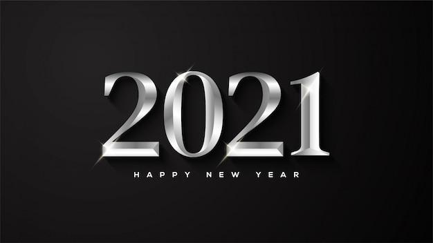 Feliz ano novo, com ilustrações de números metálicos com luz branca.