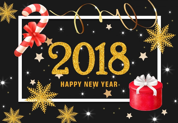 Feliz ano novo com letras com presentes e doces