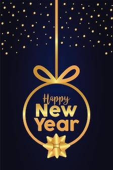 Feliz ano novo com letras de cartão dourado com ilustração de bola dourada pendurada