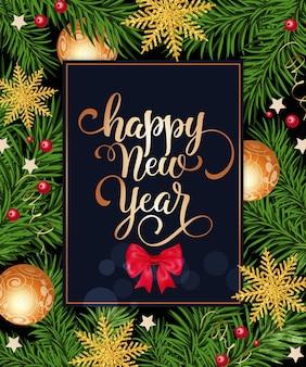 Feliz ano novo com letras no quadro com arco