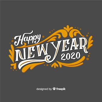 Feliz ano novo com letras vintage