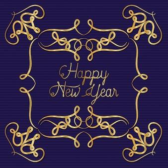 Feliz ano novo com moldura dourada de ornamento em fundo azul listrado