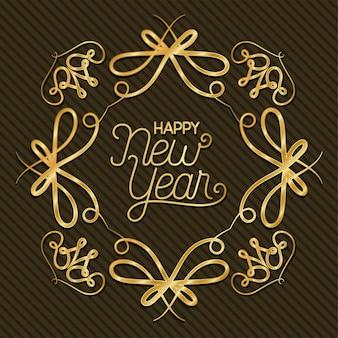 Feliz ano novo com moldura dourada de ornamento em fundo listrado
