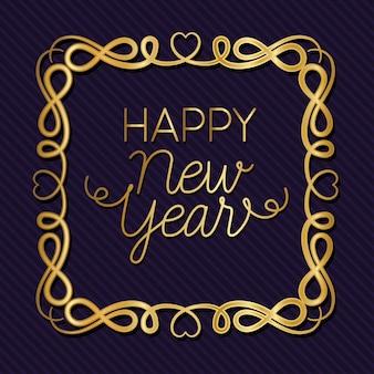 Feliz ano novo com moldura dourada de ornamento em fundo roxo listrado