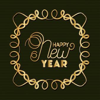 Feliz ano novo com moldura dourada sobre fundo verde listrado