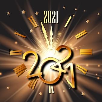 Feliz ano novo com mostrador de relógio e design de números metálicos