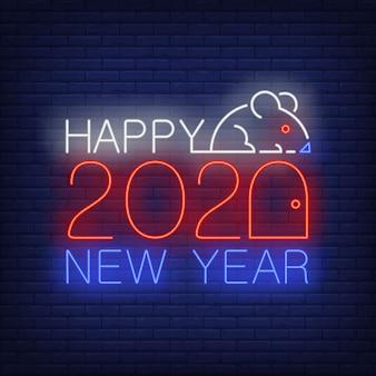 Feliz ano novo com mouse e números sinal de néon