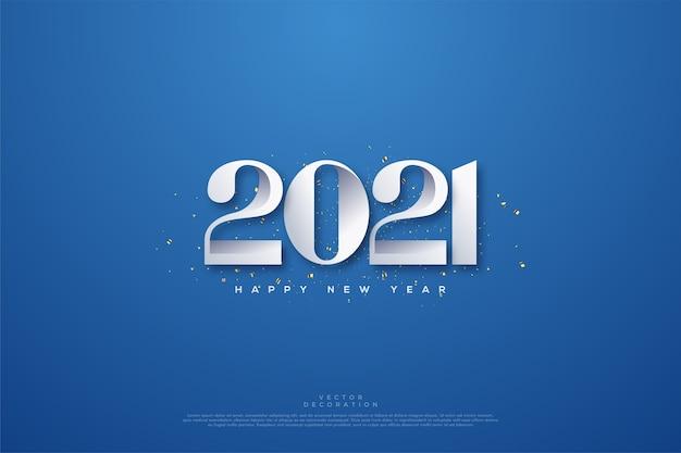 Feliz ano novo com números brancos e sombra sobre fundo azul.