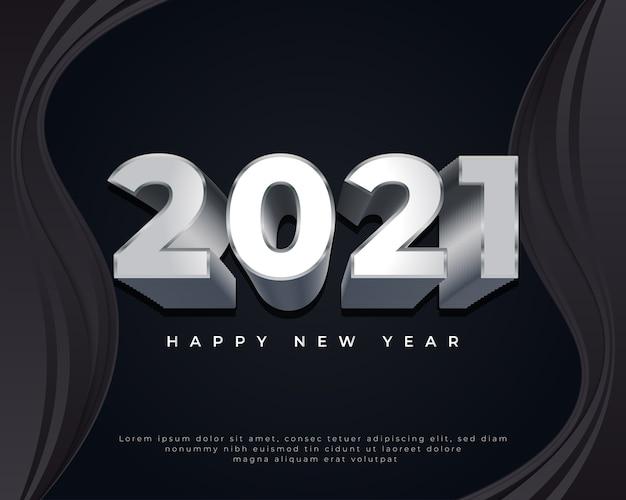 Feliz ano novo com números de metal em fundo preto