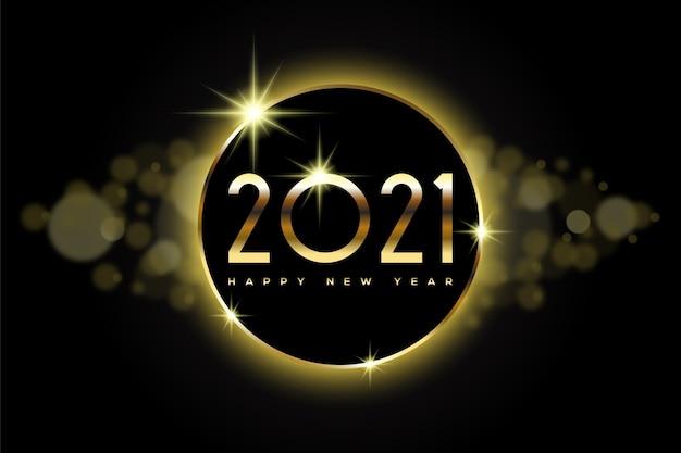 Feliz ano novo com números dourados e bokeh
