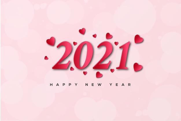 Feliz ano novo com números e balões de amor vermelhos