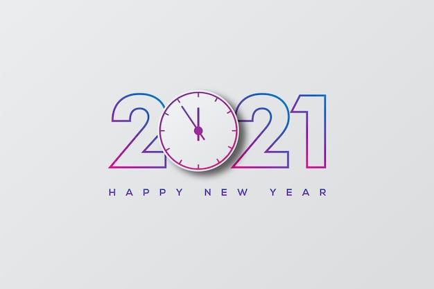 Feliz ano novo com números e um relógio azul no meio