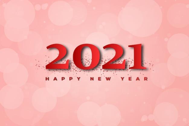 Feliz ano novo com números vermelhos e bokeh