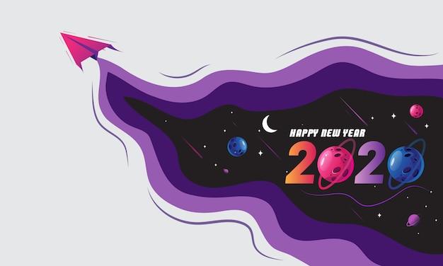 Feliz ano novo com o tema do espaço