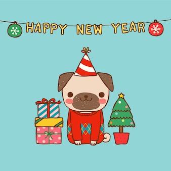 Feliz ano novo com pug bonito dos desenhos animados em estilo simples