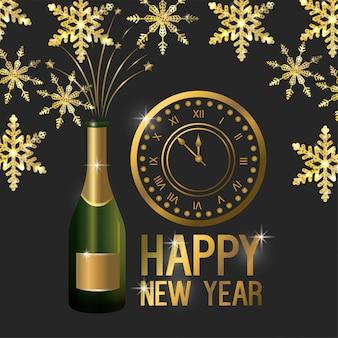 Feliz ano novo com relógio e garrafa de champanhe