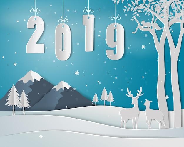 Feliz ano novo com texto 2019, paisagem de inverno com a família de veados