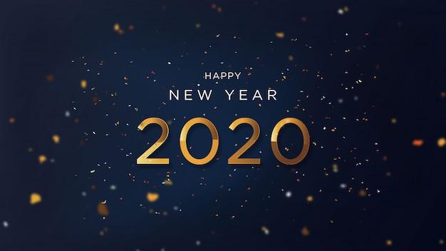 Feliz ano novo com texto de ouro chique