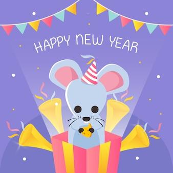 Feliz ano novo com texto em forma de queijo e rato dentro da caixa de presente