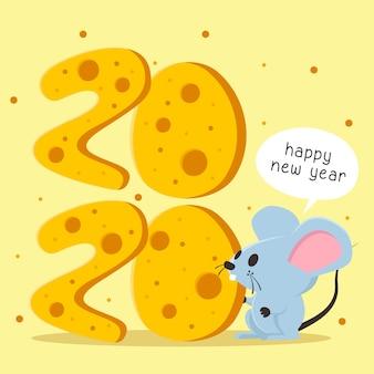 Feliz ano novo com texto em forma de queijo e rato