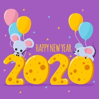 Feliz ano novo com texto em forma de queijo, rato e balões coloridos