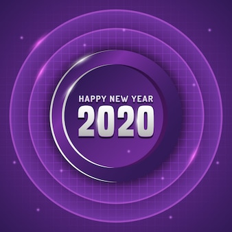 Feliz ano novo com texto prata e cor roxa