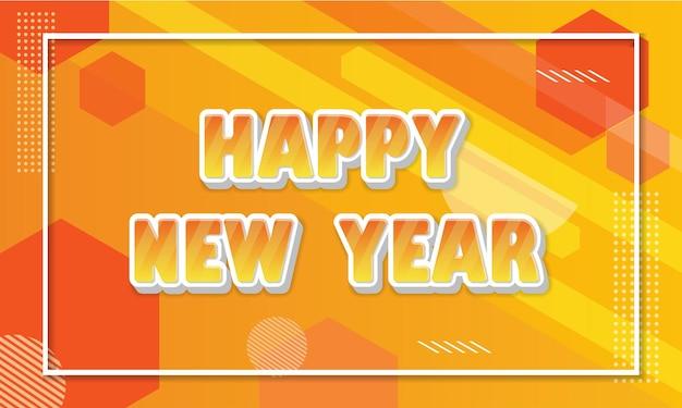 Feliz ano novo com um lindo texto laranja e um fundo geométrico para o modelo de cartão ou banner