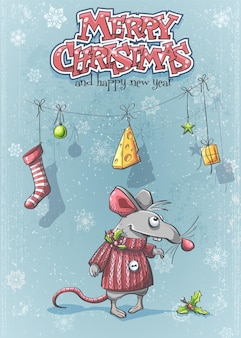 Feliz ano novo com um rato bonito de desenho animado