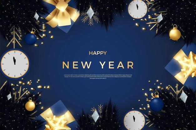 Feliz ano novo com um relógio que mostra a hora de uma linda festa