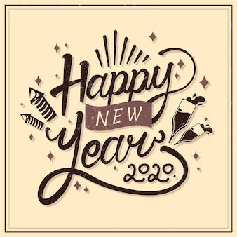 Feliz ano novo conceito com design vintage