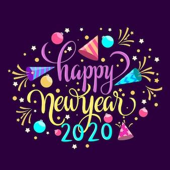 Feliz ano novo conceito com letras