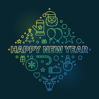 Feliz ano novo conceito delinear ilustração colorida