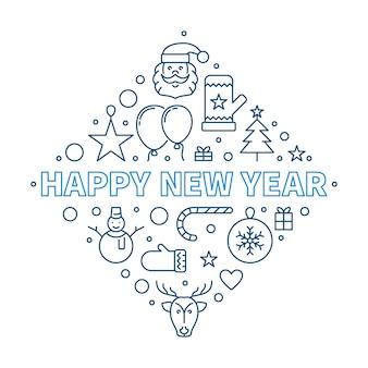 Feliz ano novo conceito delinear ilustração criativa