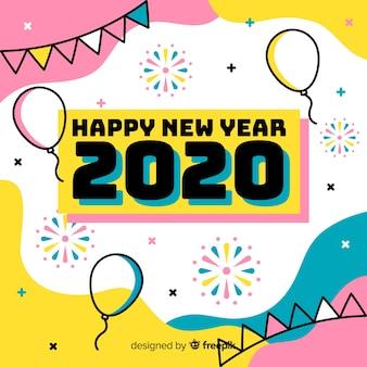 Feliz ano novo conceito em design plano