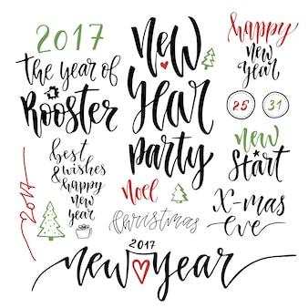 Feliz ano novo conjunto caligráfico. design de cartão de saudação