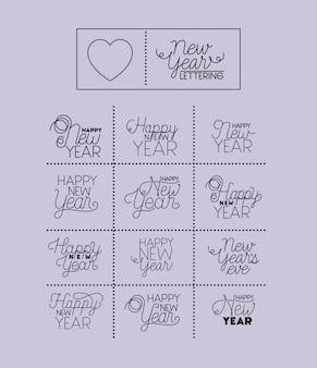 Feliz ano novo conjunto de cartas