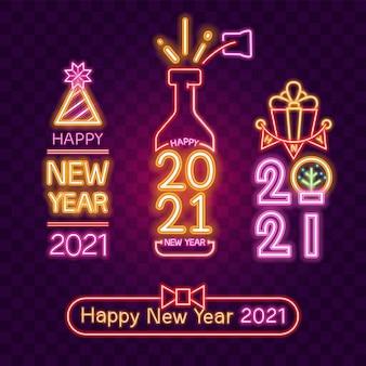 Feliz ano novo conjunto de néon.