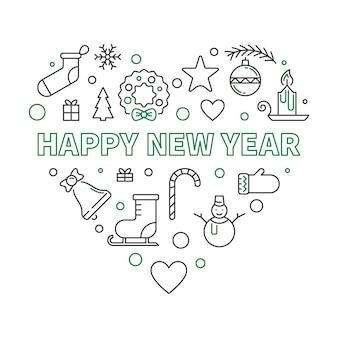 Feliz ano novo coração contorno conceito ilustração
