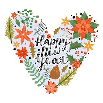Feliz ano novo coração floral.