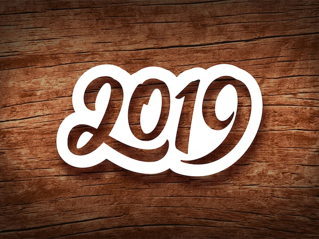 Feliz ano novo de 2019. cartão vintage